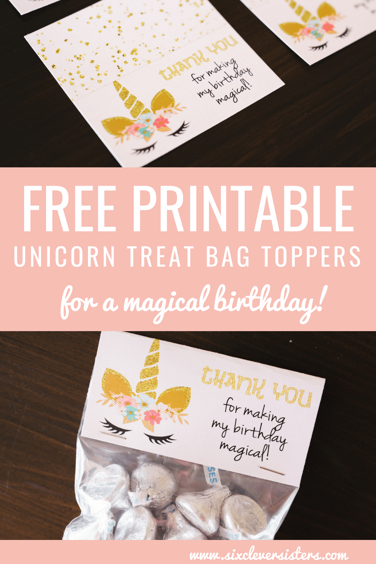 28df5a7ed44c Unicorn Treat Bags (+ Free Printable) - Six Clever Sisters