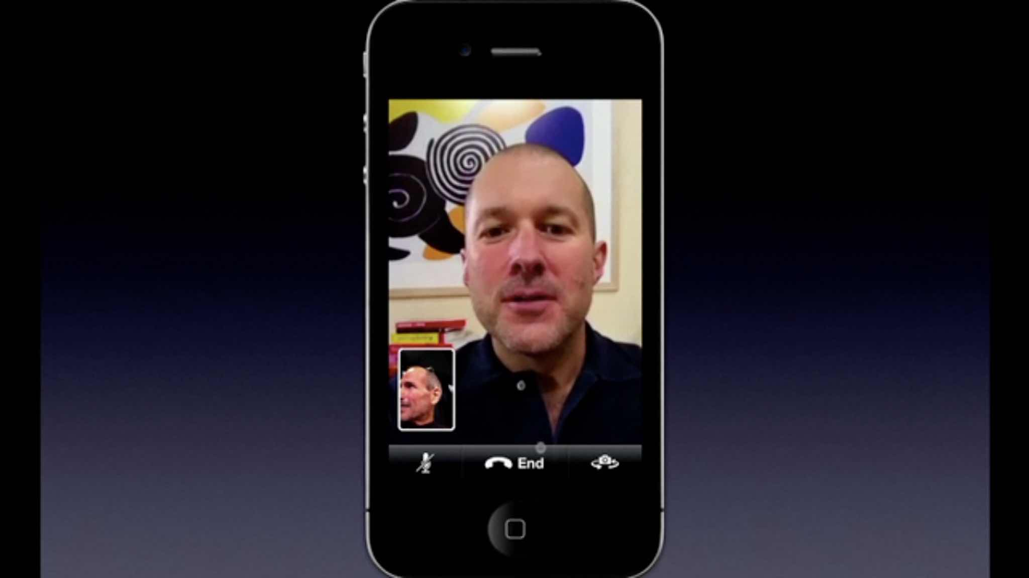 Steve Jobs and Jony Ive introduce FaceTime.
