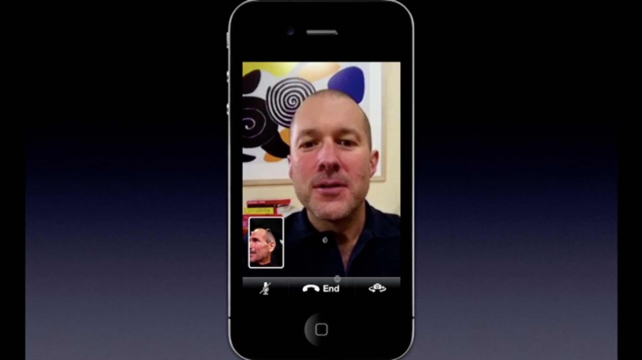 Steve Jobs and Jony Ive introduce FaceTime.