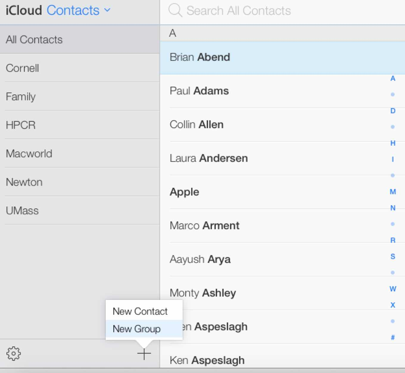 Contact groups on iCloud