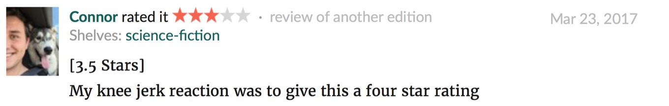 A typical Goodreads review