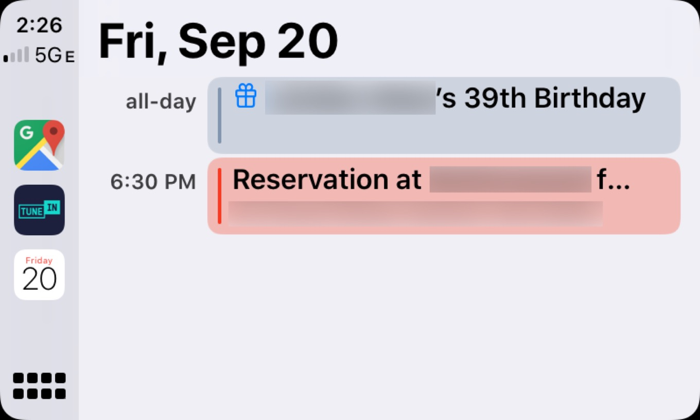 CarPlay Calendar