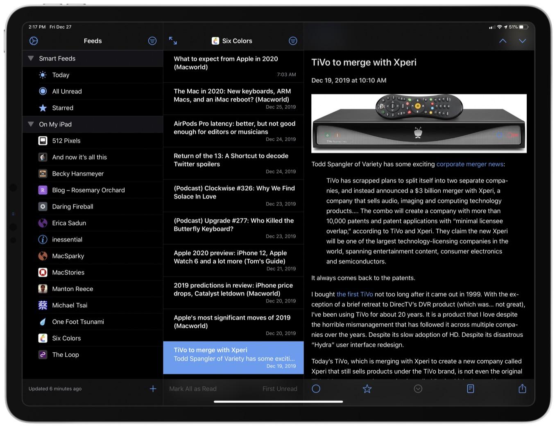 NetNewsWire app on iPad