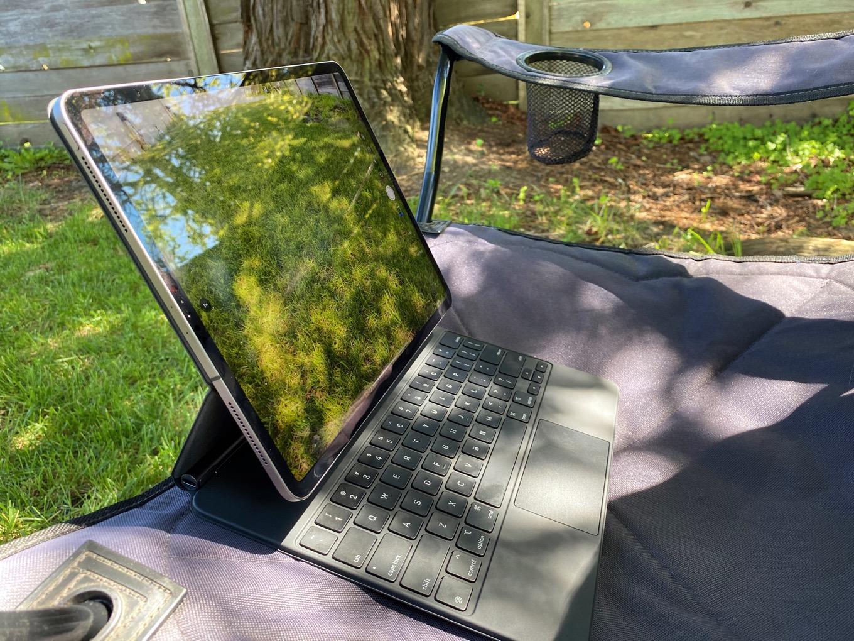 iPad in the backyard