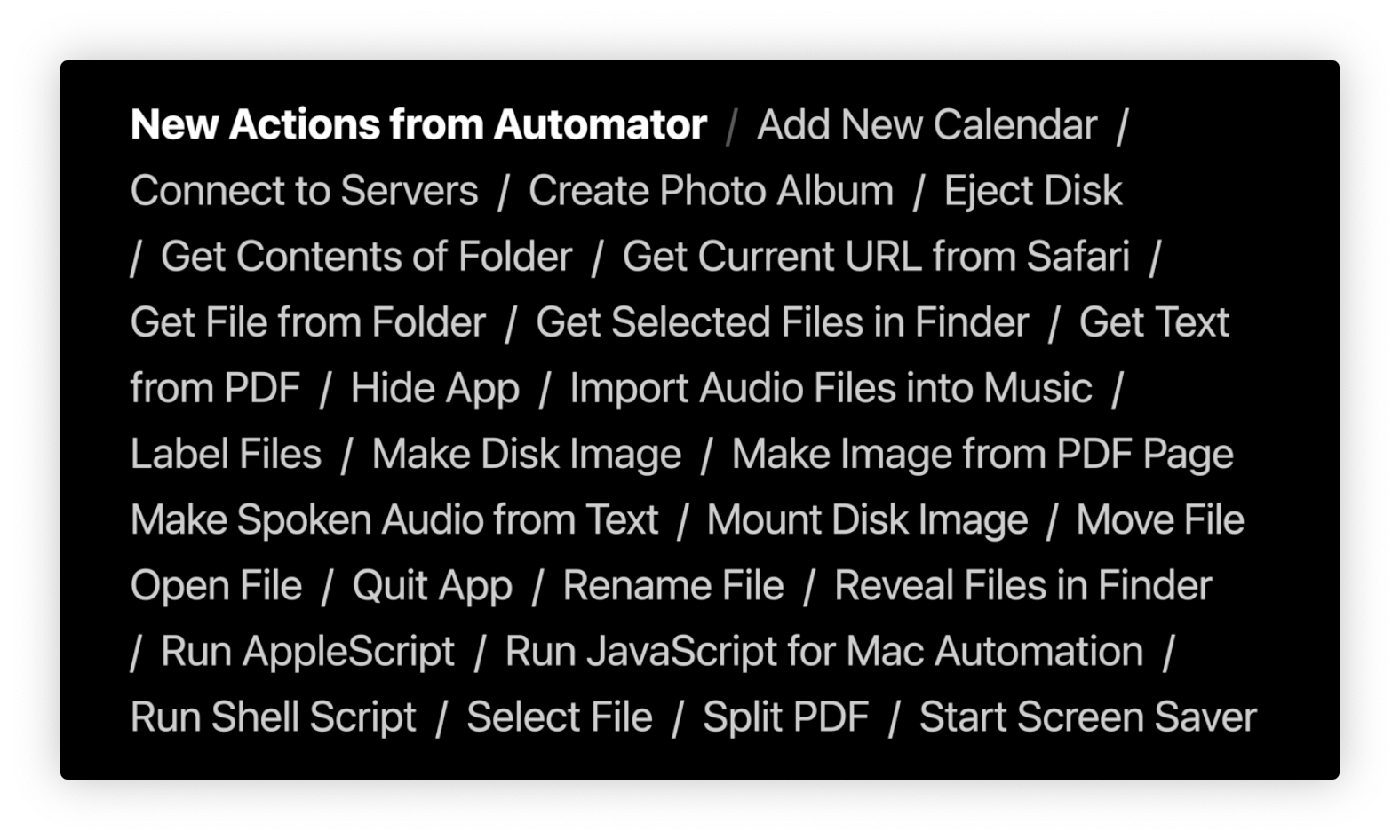 Shortcuts Actions based on Automator