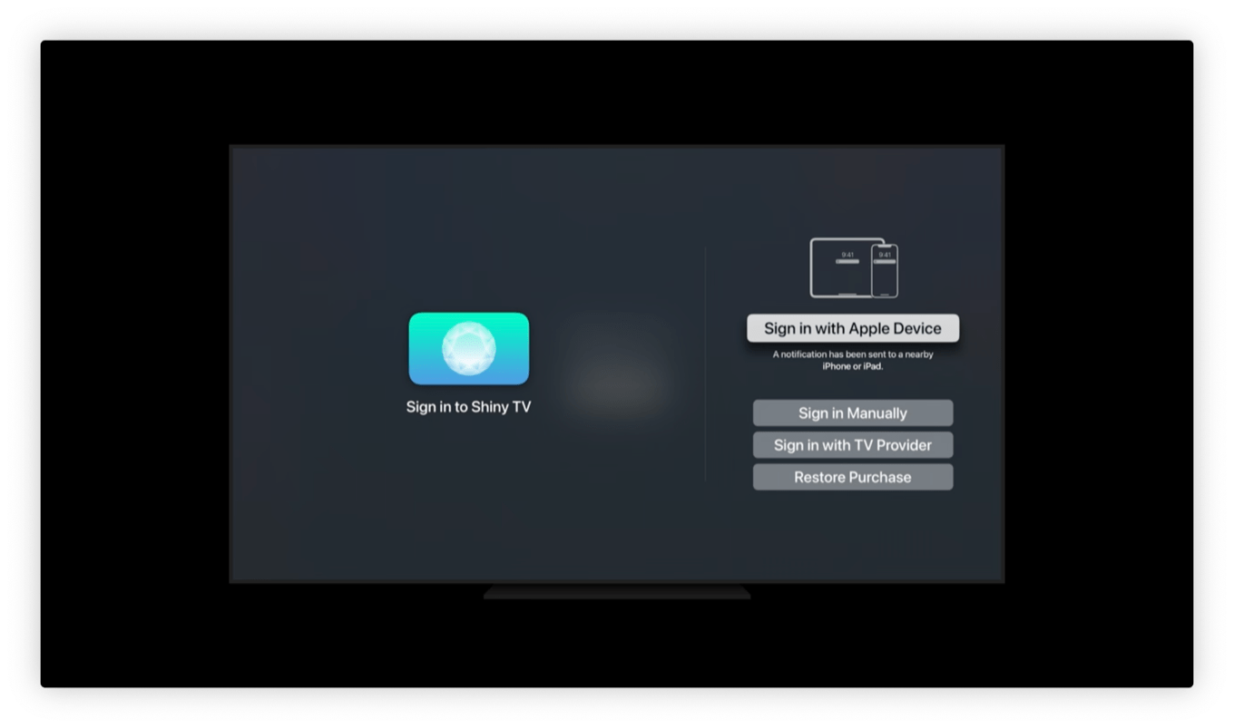 tvOS sign in