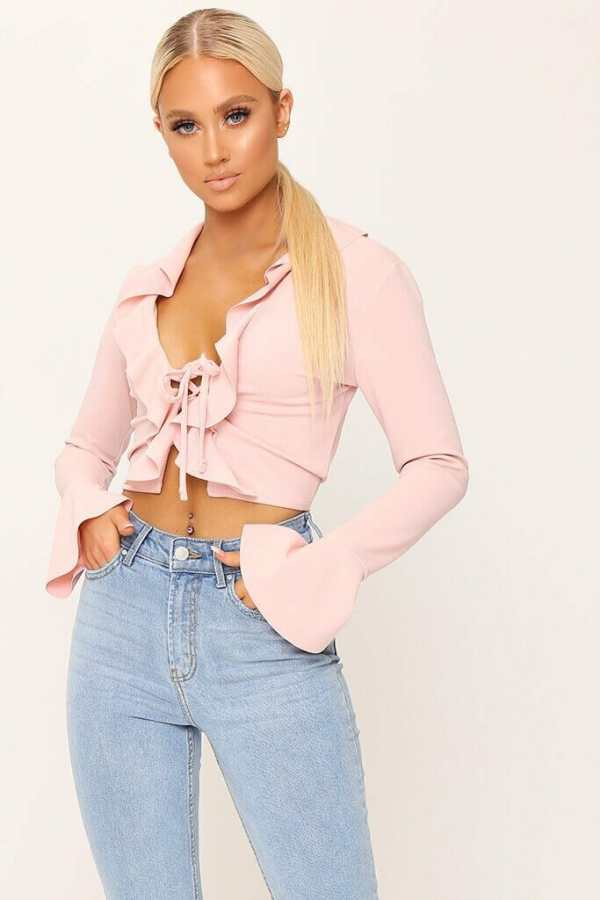 Blush Ruffle Tie Front Blouse - 6 / PINK