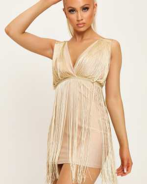 Gold Plunge Tassle Mini Dress - 6 / METALLIC