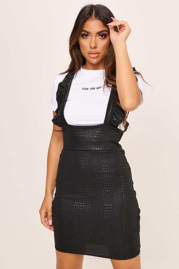 Black Snake Print Ruffle Pinafore Dress - 6 / BLACK
