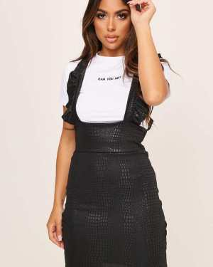 Black Snake Print Ruffle Pinafore Dress - 6 / BLACK