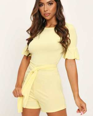 Lemon Jumbo Rib Tie Waist Frill Sleeve Playsuit - 6 / YELLOW