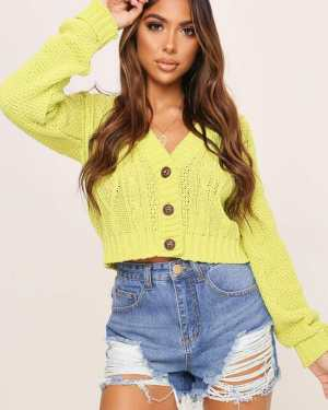 Lime Green Button Through Cable Knit Cardigan - XS / GREEN