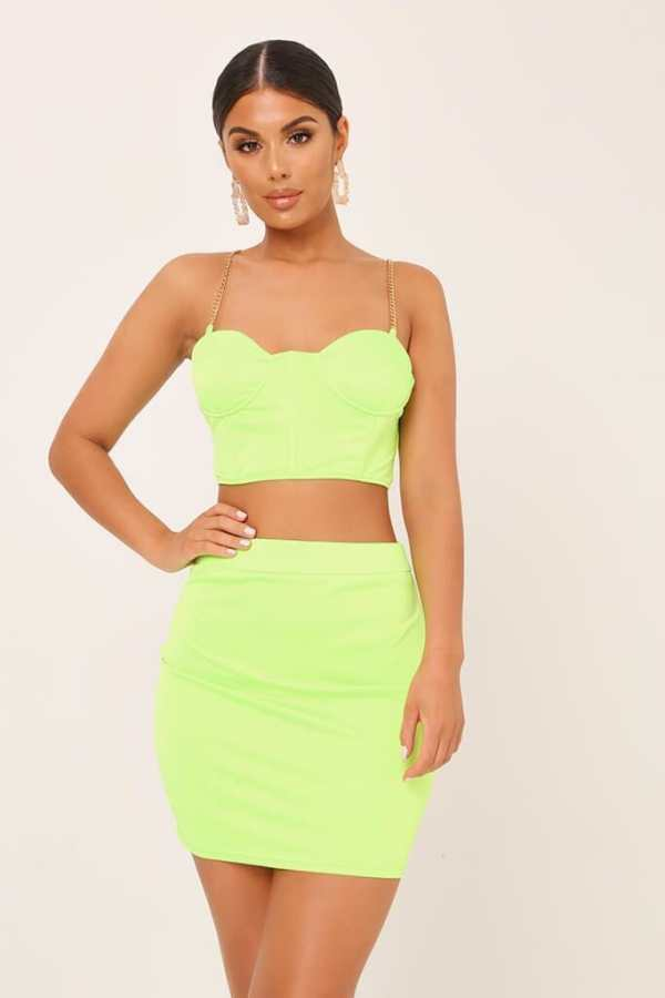 Neon Lime Chain Satin Bralet - 12 / GREEN