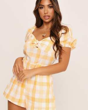 Orange Check Milkmaid Playsuit - M / ORANGE