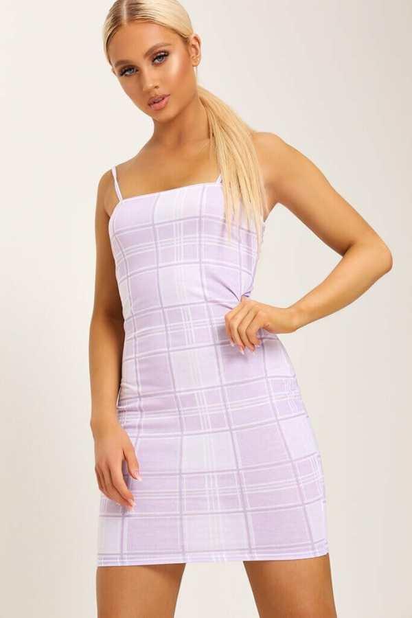 Lilac Check Print Strappy Square Neck Bodycon Dress - 10 / PURPLE