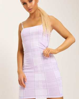Lilac Check Print Strappy Square Neck Bodycon Dress - 10 / PURPLE