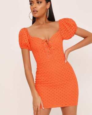 Orange Tie Frontlace Milkmaid Dress - L / ORANGE