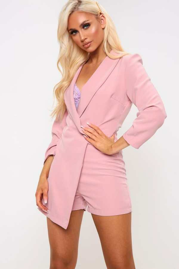 Pink Wrap Over Blazer Playsuit - XS / PINK