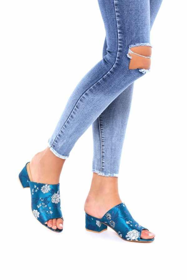 Blue Oriental Open Toe Mule Sandals - 6 / BLUE