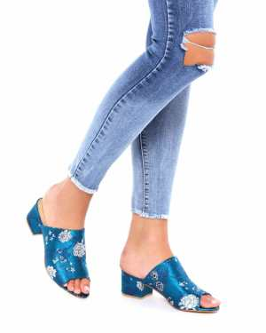 Blue Oriental Open Toe Mule Sandals - 6 / BLUE