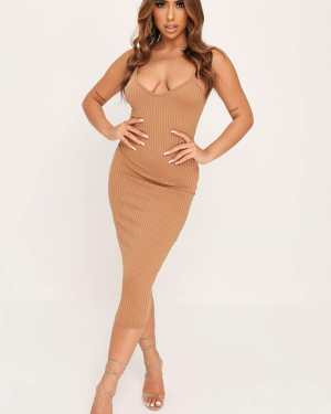 Camel Ribbed Midi Dress - 16 / BEIGE