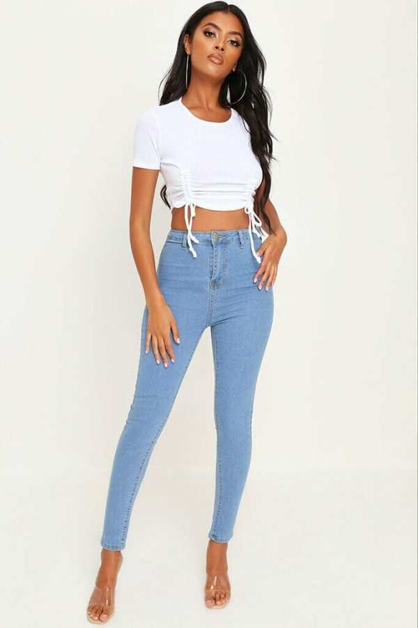 Light Wash Basic High Waisted Disco Skinny Jeans - 14 / BLUE