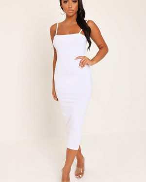 White Cami Ribbed Midi Dress - 16 / WHITE
