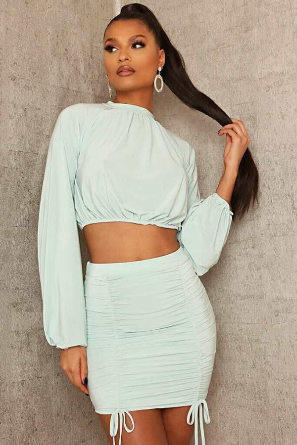 Mint Green Slinky Ruched Front Mini Skirt - 18