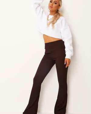 Chocolate Ribbed Flare Trousers - 12 / BROWN