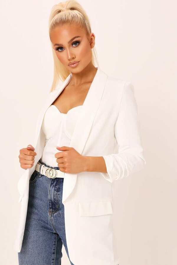 Cream Ruched Sleeve Blazer - S / WHITE