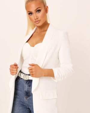 Cream Ruched Sleeve Blazer - S / WHITE