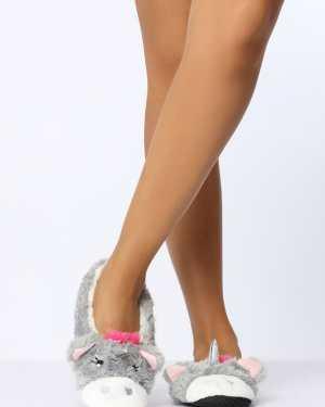 Grey Unicorn Ballet Slippers - M / GREY