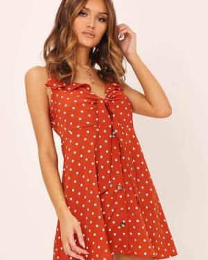 Rust Polka Dot Button Through Cami Dress - XS / ORANGE