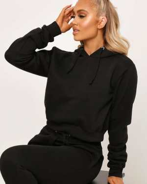 Black Basic Elasticated Waist Cropped Hoodie - 16 / BLACK