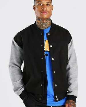 Mens Black Melton Contrast Sleeve Oversized Varsity Jacket, Black