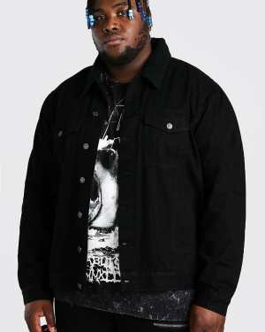 Mens Black Plus Size Denim Jacket With Borg Collar, Black