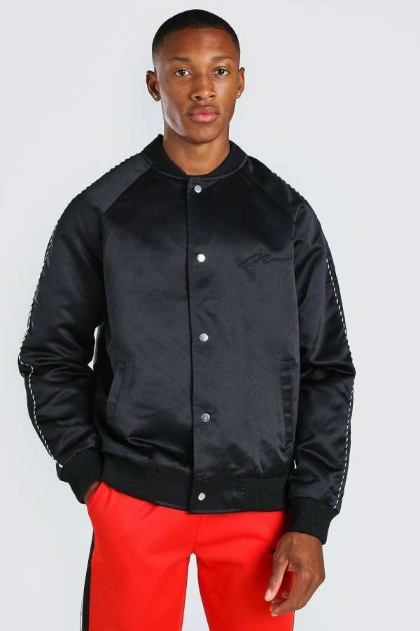 Mens Black Satin Bomber Jacket With Chest Man Embroidery, Black