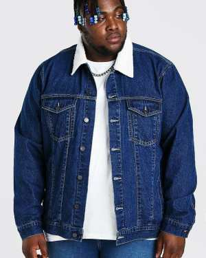 Mens Blue Plus Size Denim Jacket With Borg Collar, Blue