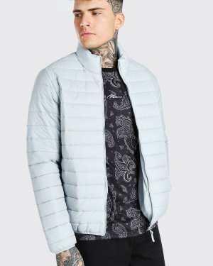 Mens Grey Foldaway Padded Jacket With Bag, Grey