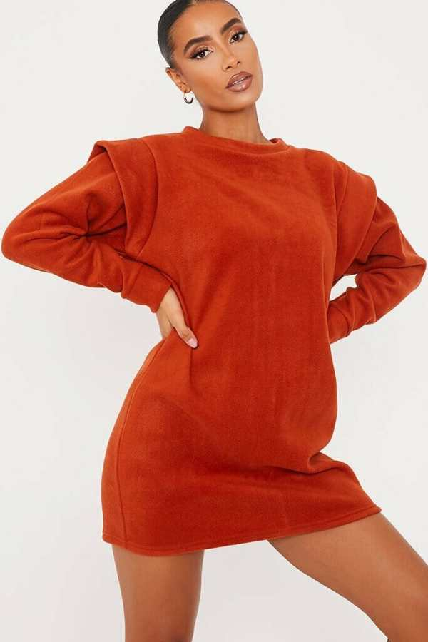 Rust Fleece Shoulder Detail Sweater Dress - 12 / ORANGE
