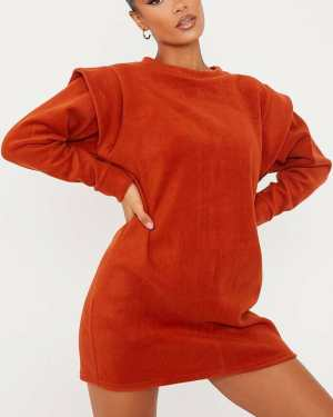 Rust Fleece Shoulder Detail Sweater Dress - 12 / ORANGE