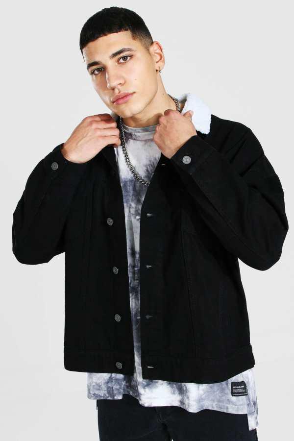 Mens Black Oversized Borg Collar Denim Jacket, Black