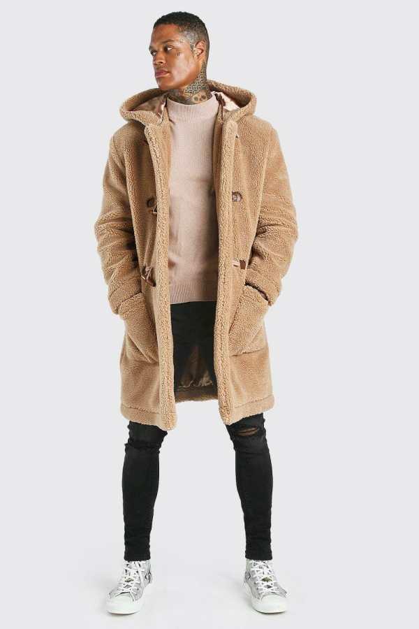 Mens Brown Borg Hooded Duffle Coat, Brown