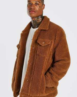 Mens Brown Borg Trucker Jacket, Brown