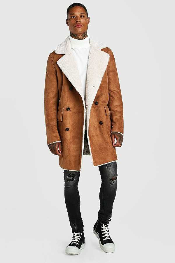 Mens Brown Faux Suede Borg Lined Overcoat, Brown