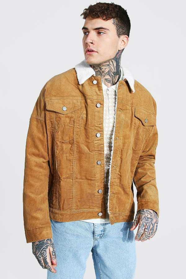 Mens Brown Oversized Borg Collar Cord Jacket, Brown