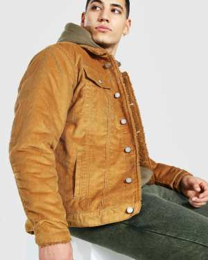 Mens Brown Regular Fit Fully Borg Lined Cord Jacket, Brown