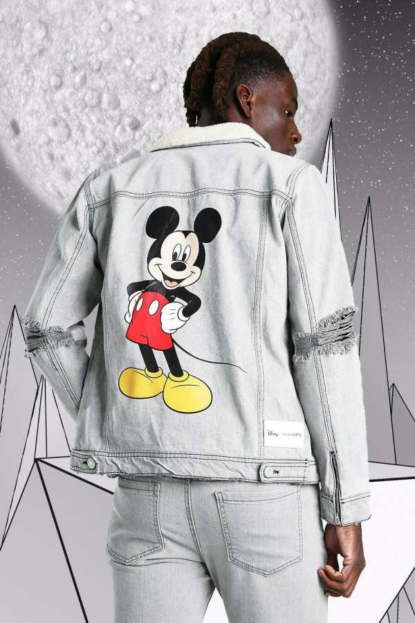 Mens Grey Disney Mickey Denim Jacket With Borg Collar, Grey