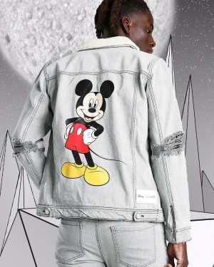 Mens Grey Disney Mickey Denim Jacket With Borg Collar, Grey