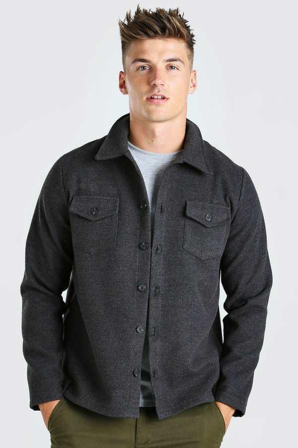 Mens Grey Melton Button Through Unlined Trucker Jacket, Grey